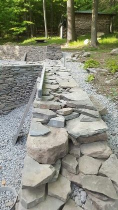 Dry stone wall - in process - hearting visible