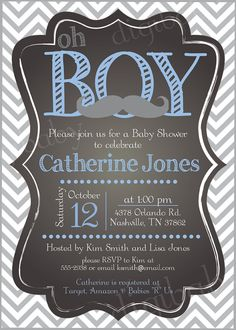 mustache baby shower invitation chevron by DigiBabyDesign on Etsy