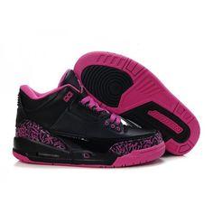 Air Jordan 3 Retro - Basket Jordan Pas Cher Chaussure Pour Femme/Fille Noir/Rose…