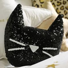 The Emily Meritt Sequin Cat Pillow #pbteen