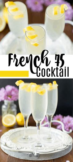 How to Make a French 75 Cocktail Ingredients 1 oz London dry gin oz fresh lemon juice oz simple syrup Ice 3 oz Brut champagne Lemon peel twist for garnish French Cocktails, French 75 Cocktail, Cocktail Drinks, Fun Drinks, Yummy Drinks, Cocktail Recipes, Alcoholic Drinks, French 75 Drink, Mixed Drinks