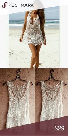 Crochet sweater blouse beach bikinis cover openwor Crochet sweater blouse beach bikinis cover openwork lace mesh knitted protective clothing beach dress Accessories