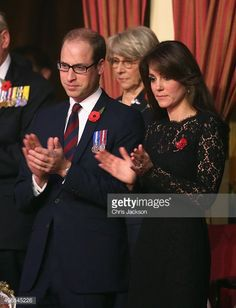 Catherine, Duchess of Cambridge and Prince William, Duke of Cambridge in the Royal Box the Royal Albert Hall for the Annual Festival of Remembrance on November 7, 2015 in London, England.