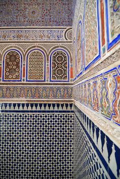 The ornate walls of the Dar Si Said Museum, Marrakech