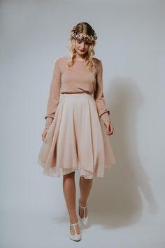 Knielanges Kleid: luftiges Chiffonkleid in zartem Rosa / knee-legth dress: airy chiffon dress in light pink made by Ave-evA via DaWanda.com