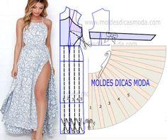 MOLDE DE VESTIDO DE VERAO -259 - Moldes Moda por Medida