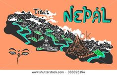 Illustrated map of Nepal