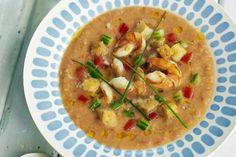 Gazpacho with Shrimp:  José Andrés shares a gazpacho recipe that's a bit more on the substantial side.