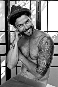 Inked - Tattoos - Portrait - Black and White Photography - Smile - Smiling - Hat - Handsome