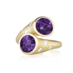 Whirl Amethyst and Pavé Diamond Ring •GEMSTONE: 2x 8mm Amethyst •DIAMOND: 0.22ct GH-VS Quality Diamonds •METAL: 18K Yellow Gold •$2,950 Carelle Jewelry.