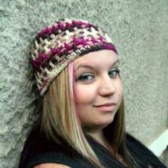 Crocheted Beanie Peek A Boo   Cherry Chip by PowersOfLove on Etsy, $20.00