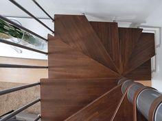 Square steel and wood Spiral staircase in kit form PIXIMA CUBE - Fontanot - Albini & Fontanot