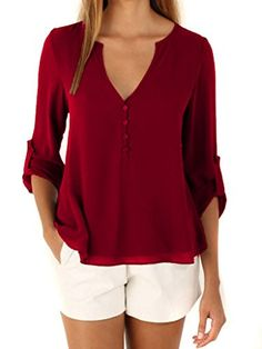 Bluetime Women's Low Cut High Low Button Detail Casual Chiffon Blouse Top Shirt (L, Wine Red). Material: Chiffon. Design:Front and Back Button Decor ; High Low. The front of the shirt have Two Layer and back just have One Layer, so back of the shirt is a little sheer,please confirmed you won't mind it before ordering. Garment Care: Hand-wash max 30°C, Hang to dry. They are Asian Sizes Smaller Than US Sizes: S=US XS(4), M=US S(6), L=US M(8), XL=US L(10), XXL=US XL(12). Please refer to the…