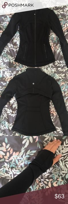 Lululemon Athletica Black Define Jacket Contours and slims your body. Great for casual outings, workouts, or layering/to keep warm. 2 pocket on the front and key hole on the wrist. lululemon athletica Jackets & Coats