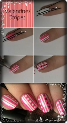 So easy I mean just paint white put tape on them in your design while tape is on go over it again with different color the Walla you have your design Crazy Nails, Love Nails, How To Do Nails, Pretty Nails, Wild Nail Designs, Nail Polish Designs, Cool Nail Designs, Dot Nail Art, Polka Dot Nails