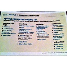 List of tools to clean! From Real Simple Magazine.