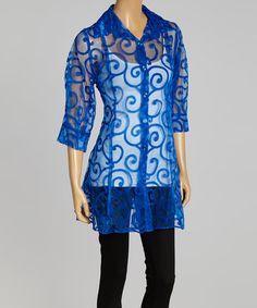 Another great find on #zulily! Royal Blue Sheer Swirl Jacket - Women & Plus by Seven Karat #zulilyfinds