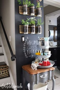 Home Decor Living Room Looking for DIY coffee bar ideas? This at home countertop coffee bar is perfect for small spaces and looks great in your kitchen! – Style Of Coffee Bar In Kitchen New Kitchen, Kitchen Decor, Kitchen Design, Kitchen Ideas, Kitchen Plants, Kitchen Island, Decorating Kitchen, Kitchen Soffit, Kitchen Bars