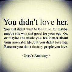 He didn't love her...Grey's Anatomy