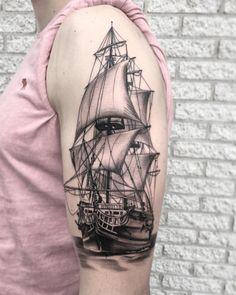 Best tattoo designs for guys sweets Ideas Sea Tattoo, Ocean Tattoos, Foot Tattoos, Forearm Tattoos, Body Art Tattoos, Nautical Tattoos, Ship Tattoo Sleeves, Sleeve Tattoos, Tattoo Ship