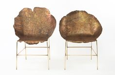industrial designer Sharon Sides metal chairs based on tree stumps