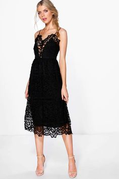 Boutique Bea Crochet Panelled Midi Skater Dress