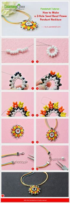 Tutorial on How to Make a 2-Hole Seed Bead Flower Pendant Necklace from LC.Pandahall.com