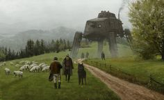 1920 - like a wolf among sheep, Jakub Rozalski on ArtStation at https://www.artstation.com/artwork/1920-like-a-wolf-among-sheeps