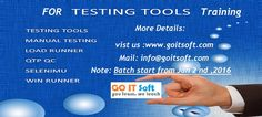 Go IT Soft is a Leading IT Online Training for the  Testing tools is a Load  Runner, Selenium,  QTP  Testing, Manual Testing , Quality Center ,Class Room and Live Training and also for the Other IT Courses. Load Runner  Course Details:  http://www.goitsoft.com/load-runner/  Selenium  Course Details:  http://www.goitsoft.com/selenium/  Q  T P  Course Details:  http://www.goitsoft.com/qtp-testing/