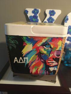 colorful lion adpi cooler sorority alpha delta pi