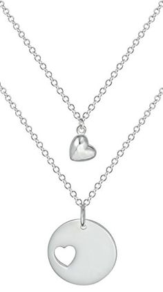 """Mother Daughter Necklaces for 2: Set of 18"""" .925 Sterling Silver Plated Heart Charm and Heart Cut Out Matching Pendant Necklaces Kinzie Fashion http://www.amazon.com/dp/B00O749R54/ref=cm_sw_r_pi_dp_Rd3qvb01B7AJ9"""