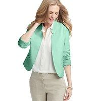 Color Pop Canvas Jacket - With modern, clean details – like a notched stand collar and open front – this saturated style is done in stretch canvas, for fabulously easygoing polish. Notched collar. Long sleeves. Open front. Welt pockets. Back vent. Lined. 20 5/8 long.