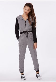 Missguided - Sally Jersey Hooded Drawstring Jumpsuit Grey Marl