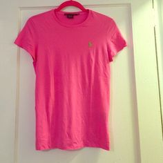 New Ralph Lauren pink t-shirt. Size S Bright pink/green horse Ralph Lauren sport t-shirt crew neck collar. Size small. New never worn just ripped tags off. Breathable stretchy material. Bought for $24.99. Also available in orange :) Ralph Lauren Tops Tees - Short Sleeve