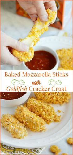 Baked Mozzarella Sticks with Goldfish Cracker Crust - Walmart Recipes - Ideas of Walmart Recipes - Baked Mozzarella Sticks with Goldfish Cracker Crust. Kids love making these easy cheesy snacks! Vegetarian Meals For Kids, Healthy Meals For Kids, Kids Meals, Healthy Dips, Vegetarian Recipes, Beef Recipes, Cooking Recipes, Kid Recipes, Chicken Recipes