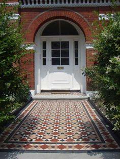 restored victorian path Front Path, Front Door Steps, Front Door Entrance, Exterior Front Doors, Entrance Ways, Porch Tile, Patio Tiles, Outdoor Tiles, Victorian Homes Exterior