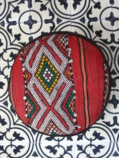 Moroccan Handmade Kilim & Leather Pouf Moroccan Pouffe, Leather Pouf, Cushions, Pillows, Pot Holders, Interior, Red, Handmade, Poufs