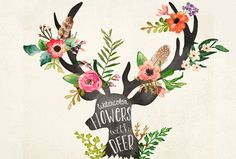 Aquarell Blumen mit Hirsch-Kopf