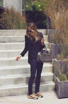 James Perse V-Neck // Helmut Lang Blazer // J Brand Skinnies // Chanel Flats Saks // Goyard Bag Barneys // Cline Shades Barneys