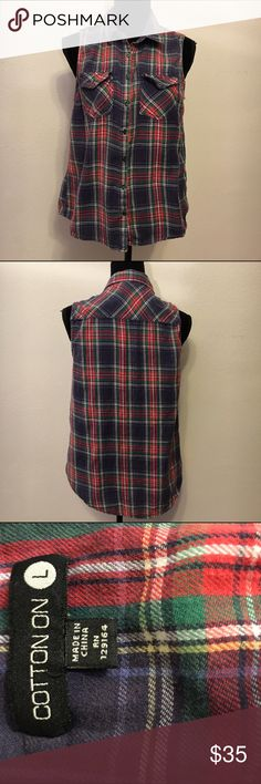 CottonOn plaid button up vest thin and soft large Extremely soft and very thin plaid button up vest. Cotton on brand. An Australian company. Buttons are metal. 19 arm to arm and 23 shoulder to hem. In good condition but please note it is meant to feel worn in and feel vintage. Cotton On Jackets & Coats Vests