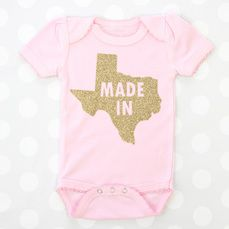 An adorable onsie for yourself or for a shower gift! Personalize it by picking your onsie and vinyl color and whatever state you want!