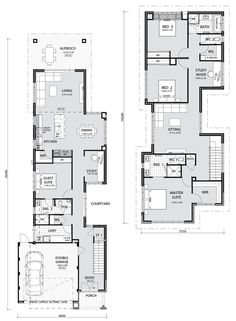 Cambridge key features: narrow lot living at its finest handy study nook off entertainment areas private courtyard secluded laundry and powder room with wil Narrow House Designs, Narrow Lot House Plans, Best House Plans, The Plan, How To Plan, Home Design Floor Plans, House Floor Plans, Cambridge House, Design Living Room