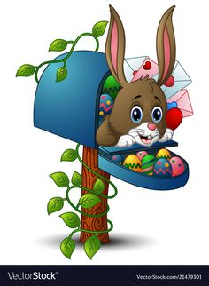 Easter bunny with easter eggs and the mailbox Vector Image art illustration Easter Emoji, Easter Art, Easter Crafts, Easter Funny, Easter Bunny Pictures, Bunny Images, Happy Easter Quotes, Funny Eggs, Rabbits