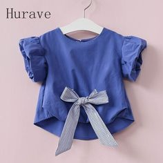 Hurave 2017 Summer New Arrival Girls Shirts Kids Clothes Children Bow Blouses Clothing Casual Short Sleeve Girls Shirts Blouses