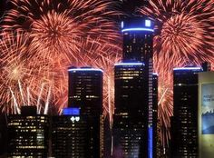Fourth of July fireworks on the Detroit River, between Detroit and Windsor: largest fireworks in North America.