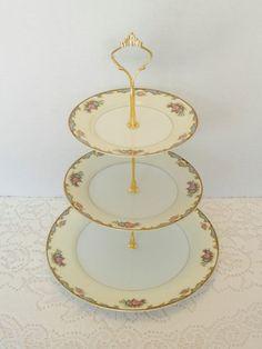 Dessert Stand, Vintage, Noritake, Cake Stand, Wedding Stand, Pastry Stand, Cupcake Tray, Dessert Tray - Vasona 1920's