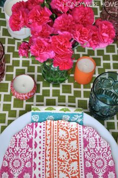 Colorful Spring table with melamine plates