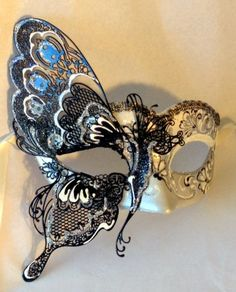 Black & White Butterfly Masquerade Mask from Mask Shop