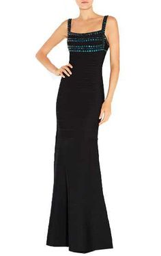 Herve Leger Latest Black Phelicia Stacked Sequin and Bead Gown. Bandage ...
