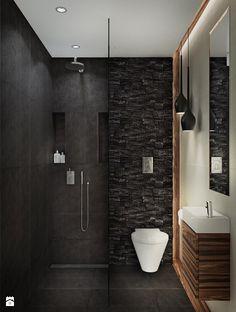 cuarto baño pequeñi negro